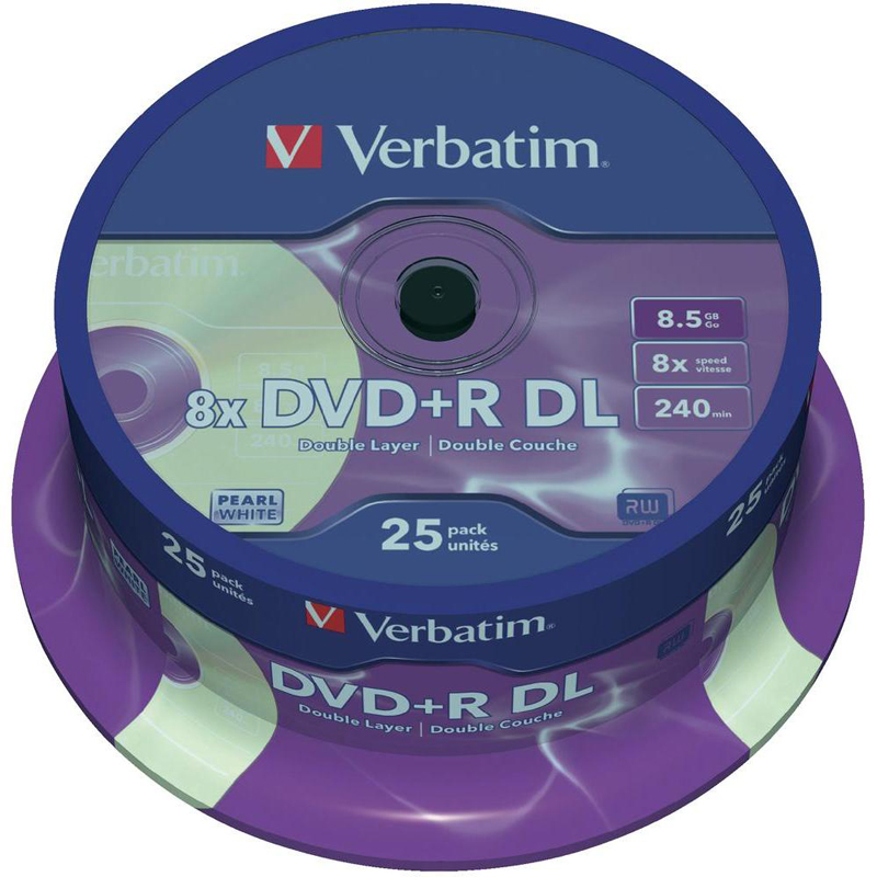 image regarding Verbatim Cd R Printable identified as Verbatim DVD+R 8.5GB Twin Layer 16x White Complete Deal with Inkjet Printable (Spindle 25)