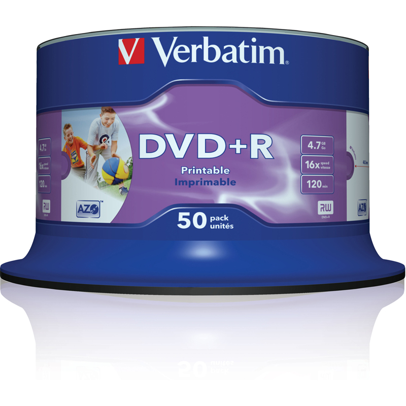 image about Ink Jet Printable Dvd identified as Verbatim DVD+R 4.7GB 16x White Comprehensive Encounter Inkjet Printable (Spindle 50)